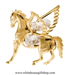 Gold Pegasus Ornament with Swarovski Crystals