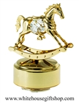 Gold Classic Rocking Horse Music Box with Swarovski® Crystals