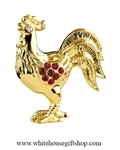 Gold Chinese Zodiac Year of the Rooster Table Top Display with Ruby Red Swarovski Crystals