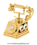 Gold Elegant Rotary Dial Telephone Desk Model with Swarovski Crystals
