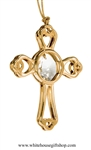 Gold Rounded Cross Ornament with Swarovski Crystals