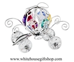 Silver Pumpkin Carriage with Light Pink, Sky Blue, Mint Green, Ruby Red, Violet, & Golden Yellow Swarovski® Crystals