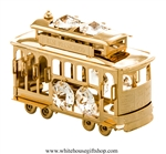 Gold San Francisco Cable Car Ornament with Swarovski Crystals