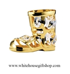 Gold Santa's Boot Ornament with Swarovski Crystals