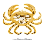 Gold Sea Crab Ornament with Swarovski Crystals