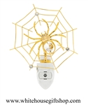 Gold Spider on a Web Nightlight with Swarovski® Crystals