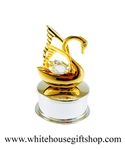 Gold Mini Swan Jewelry Box with Swarovski Crystals