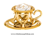 Gold Tea Cup with Saucer Ornament with Swarovski Crystals