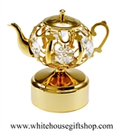 Gold Tea Kettle Music Box with Swarovski® Crystals