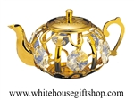 Gold Tea Kettle Swarovski Crystals