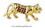 Gold Chinese Zodiac Year of the Tiger Table Top Display with Ruby Red Swarovski Crystals