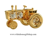 Gold Tractor Table Top Display with Swarovski Crystals