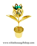 Gold Potted Tulip Table Top Display with Emerald Green Swarovski® Crystals