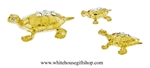 Gold Turtle Family Table Top Collection with Swarovski Crystals