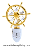 Gold Captain's Boating Wheel Nightlight with Swarovski® Crystals