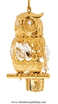 Gold Wise Owl Ornament with Swarovski Crystals