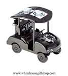 Pewter Metallic Golf Cart Ornament with Swarovski Crystals