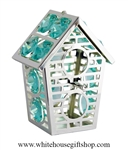 Silver Two Story Birdhouse Ornament with Aquamarine Swarovski Crystals