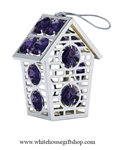 Silver Two Story Birdhouse Ornament with Deep Purple Swarovski Crystals