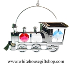 Silver 2-D Classic Steam Locomotive Ornament with Swarovski® Crystals