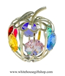Silver Mini Apple Ornament with Light Pink, Aquamarine, Golden Yellow, Rose, Violet, & Rose Swarovski Crystals