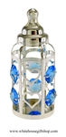 Silver Baby Boy's Classic Bottle Ornament with Ocean Blue Swarovski Crystals