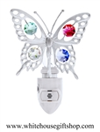 Silver Butterfly Nightlight with Swarovski® Crystals