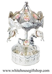 Silver Carousel with Horses Music Box with Swarovski® Crystals