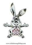 Silver Playful Cartoon Bunny Ornament with Light Pink Swarovski Crystals