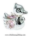 Silver Playful Cartoon Duck Ornament with Light Pink Swarovski Crystals