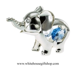 Silver Playful Cartoon Elephant Ornament with Ocean Blue Swarovski Crystals
