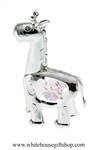 Silver Playful Cartoon Giraffe Ornament with Light Pink Swarovski Crystals