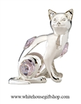 Silver Cat Ornament with Light Pink Swarovski Crystals