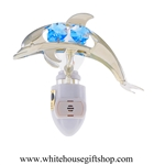 Silver Playful Dolphin Nightlight with Swarovski® Crystals