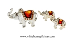 Silver Elephant Family Table Top Collection with Amber Swarovski Crystals