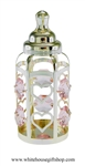 Silver Baby Girl's Classic Bottle Ornament with Light Rose Pink Swarovski Crystals
