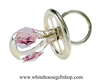 Silver Baby Girl's Classic Pacifier Ornament with Light Rose Pink Swarovski Crystals