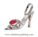 Silver High Heel Open Toe Sandal Ornament with Ruby Red Swarovski Crystals