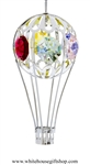 Silver Hot Air Balloon Ornament with Mint Green, Golden Yellow, Rose, Clear, Sky Blue & Light Pink Swarovski Crystals
