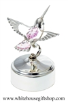 Silver Mini Hummingbird Music Box with Lilac Purple Swarovski® Crystals