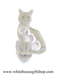 Silver Kitty Cat Nightlight with Swarovski® Crystals