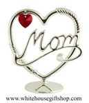 Silver Mom Heart Table Top Display with Swarovski® Crystals
