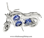 Silver Classic Motorcycle Ornament with Deep Blue Swarovski Crystals