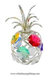 Silver Mini Pineapple Ornament with  Aquamarine, Golden Yellow, Rose, Violet, Rose, & Clear Swarovski Crystals