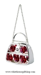 Silver Cross Shoulder Purse Ornament with Ruby Red Swarovski Crystals
