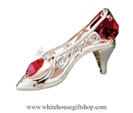 Silver Ruby Slipper Ornament with Ruby Red Swarovski Crystals