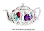 Silver Tea Kettle Ornament with Mint Green, Violet, Rose, Clear, Sky Blue & Light Pink Swarovski Crystals