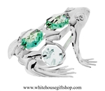 Silver Northern Tree Frog Ornament with Turquoise Green Swarovski Crystals