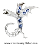 Silver Winged Dragon Table Top Display with Ocean Blue Swarovski® Crystals