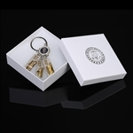 Seal of the President Keychain or Key Ring with symbols of the U.S. including Iwo Jima memorial, Washington Monument, U.S. Capitol building, White House